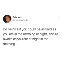 Nice, Awake, and You: Bahram  @persianthotz  It'd be nice if you could be as tired as  you are in the morning at night, and as  awake as you are at night in the  morning me😴irl
