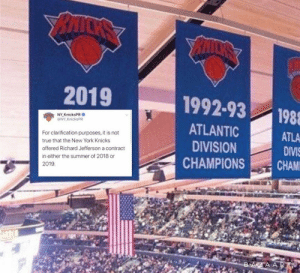 The Knicks' greatest free-agent signing ever 😂 https://t.co/qtyVrKZWRP: BAICKS  2019  1992-93  198  NY KnicksPR  @NY KnicksPR  ATLANTIC  ATLA  DIVIS  For clarification purposes, it is not  DIVISION  true that the New York Knicks  offered Richard Jefferson a contract  CHAM  CHAMPIONS  in either the summer of 2018 or  2019.  BAZAART The Knicks' greatest free-agent signing ever 😂 https://t.co/qtyVrKZWRP
