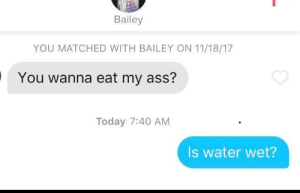 Well, that escalated quickly: Bailey  YOU MATCHED WITH BAILEY ON 11/18/17  You wanna eat my ass?  Today 7:40 AM  Is water wet? Well, that escalated quickly