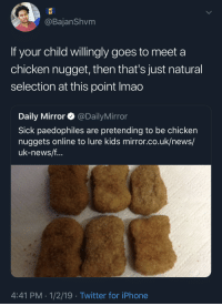 2019: The Year Of Idiocracy Kids: @BajanShvm  If your child willingly goes to meet a  chicken nugget, then that's just natural  selection at this point Imao  Daily Mirror @DailyMirror  Sick paedophiles are pretending to be chicken  nuggets online to lure kids mirror.co.uk/news/  uk-news/f  4:41 PM 1/2/19 Twitter for iPhone 2019: The Year Of Idiocracy Kids