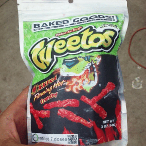 Baked, Cheetos, and Gucci: BAKED G6eD  WEED  0  s Hot!  TWice  0  NET WT  3 OZ (84G)  certified 7 doses gucci-flipflops:  Medicated Flaming Hot Cheetos