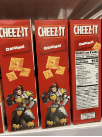 Baked, Cheez-It , and Facts: baked snack crackers  baked snack crackers  baked snack crackers  ORİGİNal | ORİGİNal  ORİGİNal  Nutrition Facts  About 12 servings per container  Serving size 27 Crackers (30g)  Amount per serving  Calories 150  % Daily Value*  10%  10%  Total Fat 89  Saturated Fat 2  Trans Fat  Polyunsaturated Fat 4  Monounsaturated Fat 2  Cholesterol 0mg  Sodium 230m  Total Carbohydrate 17g  0%  -1096  6%  Dietary Fiber <1g  otal Sugars 0g  -0%  ncludes  Sugars  Protein 3g  Vitamin D 0mcg 0% . Calcium 40mg 2%  . Potassium 30mg 0%  Iron 1.1 mg 6%  .The % DalyValeDV)-you how muchantren naseringof  ontributes to a daily diet. 2,000 calories a day is used for general nutrtin  Ingredients: Enriched flour (wheat flour, niacin,  reduced iron, vitamin B1 [thiamin mononitrate)  vitamin B2 [riboflavin], folic acid), vegetable oil  soybean and palm oil with TBHQ for  freshness), cheese made with skim milk (skim  milk, whey protein, salt, cheese cultures,  enzymes, annatto extract color)  Contains 2% or less of salt, paprika, yeast,  paprika extract color, soy lecithin  CONTAINS WHEAT, MILK AND SOY INGREDIENTS.  Distributed by Kellogg Sales Co.  Battle Creek, MI 49016 USA  ®, TM, © 2018 Kellogg NA Co  uestions or Comments?  Visit: Cheez-It.com  Call: 1-877-453-5837  Se Habla Español)  CODE ON PACKAGE