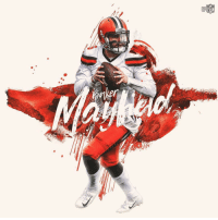 Memes, Nfl, and Browns: .@bakermayfield is the 1st rookie QB in NFL history to record a 140+ passer rating in consecutive games (minimum 20 attempts) 🎯 #Browns https://t.co/sbFtvyzFyf