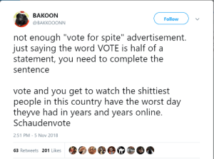 "The Worst, Tumblr, and Blog: BAKooN  @BAKKOOONN  Follow  not enough ""vote for spite"" advertisement.  just saying the word VOTE is half of a  statement, you need to complete the  sentence  vote and you get to watch the shittiest  people in this country have the worst day  theyve had in years and years online.  Schaudenvote  2:51 PM-5 Nov 2018  63 Retweets 201 Likes brainstatic: SCHADENVOTE"