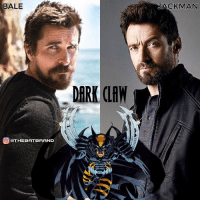 Batman, Marvel Comics, and Memes: BALE  EDTHEBATBRAND  JACKMAN In 1996, DC and Marvel comics publish a crossover series where Batman and Wolverine were made into one character named, Dark Claw.