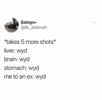 Wyd: Balego.  @RL_blahneh  takes 5 more shots  liver: wyd  brain: wyod  stomach: wyd  me to an ex: wyd Wyd