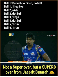 Bumrah is a legend!: Ball 1: Bumrah to Finch, no ball  Ball 1, 1 leg bye  Ball 2, wide  Ball 2, dot ball  Ball 3,1 bye  Ball 4, dot ball  Ball 5, 1 run  Ball 6, 1 run  IPL  Confused Aalma  India decla  VIDEOCOn  MUMBAI INDIANS  GUJARAT LIONS  SUPER OVER  Not a Super over, but a SUPERB  over from Jasprit Bumrah Bumrah is a legend!