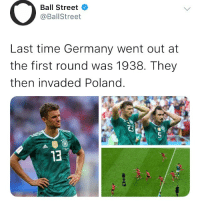 niggas bout to start world war 3 💀💀: Ball Street  @BallStreet  Last time Germany went out at  the first round was 1938. They  then invaded Poland.  0  13 niggas bout to start world war 3 💀💀
