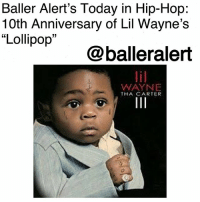 "Baller Alert's Today in Hip-Hop: 10th Anniversary of Lil Wayne's ""Lollipop""-blogged by @thereal__bee ⠀⠀⠀⠀⠀⠀⠀⠀⠀ ⠀⠀ Ten years ago today, Lil Wayne released his smash single ""Lollipop"" from his sixth album, 'Tha Carter III'. The song features the late rapper Static Major, with production by Deezle and Jim Jonsin. ⠀⠀⠀⠀⠀⠀⠀⠀⠀ ⠀⠀ With his heavy auto-tuned flow, Wayne and Static created a hit that took the world by the storm. Literally, everywhere you turned, the song was live and in effect. ⠀⠀⠀⠀⠀⠀⠀⠀⠀ ⠀⠀ To no surprise, it became of one Lil Wayne's and Static Major's most successful singles, spending five non-consecutive weeks in the number one spot on the Billboard Hot 100 chart. ⠀⠀⠀⠀⠀⠀⠀⠀⠀ ⠀⠀ Unfortunately, Major did not live to the see the song's success, as he died almost two weeks before song's release. However, the song does go down in history as the eighth song to hit number one after the death of a credited artist. ⠀⠀⠀⠀⠀⠀⠀⠀⠀ ⠀⠀ The single became certified 5x Platinum by the RIAA with five million units sold in the United States. It also went on to receive multiple acknowledgments such as the number one hip-hop song of 2008 by MTV and number five on Rolling Stone's list of the 100 Best Songs of 2008.: Baller Alert's Today in Hip-Hop:  10th Anniversary of Lil Wayne's  ""Lollipop  09  @balleralert  WAYNE  THA CARTER Baller Alert's Today in Hip-Hop: 10th Anniversary of Lil Wayne's ""Lollipop""-blogged by @thereal__bee ⠀⠀⠀⠀⠀⠀⠀⠀⠀ ⠀⠀ Ten years ago today, Lil Wayne released his smash single ""Lollipop"" from his sixth album, 'Tha Carter III'. The song features the late rapper Static Major, with production by Deezle and Jim Jonsin. ⠀⠀⠀⠀⠀⠀⠀⠀⠀ ⠀⠀ With his heavy auto-tuned flow, Wayne and Static created a hit that took the world by the storm. Literally, everywhere you turned, the song was live and in effect. ⠀⠀⠀⠀⠀⠀⠀⠀⠀ ⠀⠀ To no surprise, it became of one Lil Wayne's and Static Major's most successful singles, spending five non-consecutive weeks in the number one spot on the Billboard Hot 100 chart. ⠀⠀⠀⠀⠀⠀⠀⠀⠀ ⠀⠀ Unfortunately, Major did not live to the see the song's success, as he died almost two weeks before song's release. However, the song does go down in history as the eighth song to hit number one after the death of a credited artist. ⠀⠀⠀⠀⠀⠀⠀⠀⠀ ⠀⠀ The single became certified 5x Platinum by the RIAA with five million units sold in the United States. It also went on to receive multiple acknowledgments such as the number one hip-hop song of 2008 by MTV and number five on Rolling Stone's list of the 100 Best Songs of 2008."
