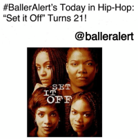 "Head, Kimberly Elise, and Queen Latifah:  #BallerAlert's Today in Hip-Hop:  ""Set it Off"" Turns 21!  @balleralert  SET  IT BallerAlert's Today in Hip-Hop: ""Set it Off"" Turns 21!-blogged by @thereal__bee ⠀⠀⠀⠀⠀⠀⠀⠀⠀ ⠀⠀ 21 years ago today, the box office hit ""Set It Off"" was released in theaters featuring a star studded cast consisting of hip-hop icon QueenLatifah, JadaPinkettSmith, VivicaFox, and KimberlyElise. ⠀⠀⠀⠀⠀⠀⠀⠀⠀ ⠀⠀ The film tells the story of four women who are fed up with the struggle and take matters into their own hands. So when Frankie (Vivica A. Fox), Tisean (Kimberly Elise), Cleo (Queen Latifah), and Stony (Jada Pinkett) are left with no other option, they begin robbing banks. While it brings them money and a way out for a better life, things eventually head south after they catch the attention of a persistent detective (John C. McGinley). ⠀⠀⠀⠀⠀⠀⠀⠀⠀ ⠀⠀ The film was a critical success, grossing over $41 million with a budget of only $9 million. What is your favorite line from the movie?"