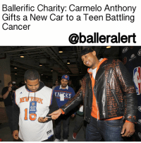 "Carmelo Anthony, Memes, and The Game: Ballerific Charity: Carmelo Anthony  Gifts a New Car to a Teen Battling  Cancer  @balleralert  N SoME W  OTHER  EVEN  PRE-GAME  WARM-UP  ACCESS  GAME BallerificCharity: Carmelo Anthony Gifts a New Car to a Teen Battling Cancer - blogged by: @MsJennyb - ⠀⠀⠀⠀⠀⠀⠀⠀⠀ ⠀⠀⠀⠀⠀⠀⠀⠀⠀ Just ahead of the Christmas Day Knicks game at Madison Square Garden, the team's star baller granted special wish to a Bronx teen battling cancer. ⠀⠀⠀⠀⠀⠀⠀⠀⠀ ⠀⠀⠀⠀⠀⠀⠀⠀⠀ CarmeloAnthony partnered with Garden of Dreams Foundation to gift a brand new Kia Sorento to 17-year-old Jarrell Lara and his parents, Anne and Fernando. ⠀⠀⠀⠀⠀⠀⠀⠀⠀ ⠀⠀⠀⠀⠀⠀⠀⠀⠀ ""This is the best Christmas I've ever had,"" Jarell said, who just won his battle against his rare form of cancer, Langerhans cell histiocytosis, after an 18-month chemotherapy session that put the cancer in remission. ""I'm going to go home and re-watch everything from today, and sit in the car."" ⠀⠀⠀⠀⠀⠀⠀⠀⠀ ⠀⠀⠀⠀⠀⠀⠀⠀⠀ ""He came over and told us he had something for us, and we thought it was a t-shirt or an autograph,"" Anne said. ""And we went back and it was a car. I broke down and started to cry."" ⠀⠀⠀⠀⠀⠀⠀⠀⠀ ⠀⠀⠀⠀⠀⠀⠀⠀⠀ A few days before the gift was given, the family was treated to a $2,000 shopping spree on behalf of the foundation. Anthony showed up and invited the Lara's to the game. ⠀⠀⠀⠀⠀⠀⠀⠀⠀ ⠀⠀⠀⠀⠀⠀⠀⠀⠀ ""To see the expressions on their face and the mom crying. One of the kids wanted to cry, but he held it in. That's what it's all about, the Christmas spirit,"" Anthony said. ⠀⠀⠀⠀⠀⠀⠀⠀⠀ ⠀⠀⠀⠀⠀⠀⠀⠀⠀ ""I don't think you can put that into words,"" he said. ""To see the expressions on their face and the mom crying. ⠀⠀⠀⠀⠀⠀⠀⠀⠀ ⠀⠀⠀⠀⠀⠀⠀⠀⠀ While Jarell went through the battle, his family made sacrifices to care for him. His mother quit her job to care for her son and the family had to uproot from Washington Heights to a less expensive place in the Bronx. However, Jarell was still overwhelmed with gratitude at the thoughtful gift. ⠀⠀⠀⠀⠀⠀⠀⠀⠀ ⠀⠀⠀⠀⠀⠀⠀⠀⠀ ""It's a blessing because so many other people have had it worse than me,"" he went on. ""But for me to get picked is very nice. Especially for him to go out of his way and get a car for me and my family — just amazing."""