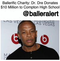 "Ali, Bailey Jay, and Community: Ballerific Charity: Dr. Dre Donates  $10 Million to Compton High School  balleralert  LAS VE  AS VEGAS BallerificCharity: Dr. Dre Donates $10 Million to Compton High School-blogged by @thereal__bee ⠀⠀⠀⠀⠀⠀⠀ ⠀⠀⠀⠀⠀⠀⠀ Compton native DrDre has donated $10 million dollars to the construction of a performing arts center for a Compton high school. The center, which will feature a variety of creative resources and a 1,200-seat theater, will be part of the new Compton High School, and is set to break ground in 2020. ⠀⠀⠀⠀⠀⠀⠀ ⠀⠀⠀⠀⠀⠀⠀ ""My goal is to provide kids with the kind of tools and learning they deserve,"" Dre said in a press statement. ""The performing arts center will be a place for young people to be creative in a way that will help further their education and positively define their future."" ⠀⠀⠀⠀⠀⠀⠀ ⠀⠀⠀⠀⠀⠀⠀ In addition to his multi million dollar donation, Dre will continue raising additional funds for the project. Once complete, the school will be home to 2,500 students. ⠀⠀⠀⠀⠀⠀⠀ ⠀⠀⠀⠀⠀⠀⠀ Dre is no newbie to philanthropy. The Compton High School project will be his second major philanthropy project towards the improvement of Southern California education. In 2013, Dre and his business partner JimmyIovine contributed $70 million to the University of Southern California to create the USC Jimmy Iovine and Andre Young Academy for Arts, Technology and the Business of Innovation. ⠀⠀⠀⠀⠀⠀⠀ ⠀⠀⠀⠀⠀⠀⠀ Vice chairman of the Compton Unified School District's Board of Education, Micah Ali, said: ""Dr. Dre has stepped up and partnered with the school district to make this vision a reality. A true act of giving back to the community in a way that will directly impact the ever-resilient efforts of our students to rise-up and succeed. A true act of leading the way and standing as an example to others of how never to forget where you came from."" ballerificcharity"