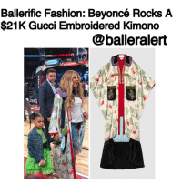BallerificFashion: Beyoncé Rocks A $21K Gucci Embroidered Kimono - blogged by- @peachkyss ⠀⠀⠀⠀⠀⠀⠀ ⠀⠀⠀⠀⠀⠀⠀ Queen Bey was spotted at the All-Star game in New Orleans over the weekend. Bey walked court side along with Miss Blue Ivy wearing a $21,945 Gucci embroidered tiger print silk kimono. She completed her look with denim distressed jeans and a white t-shirt. ⠀⠀⠀⠀⠀⠀⠀ ⠀⠀⠀⠀⠀⠀⠀ The tiger print silk duchesse kimono was presented on the men's Spring Summer 2017 runway. The mix of colors and materials unexpectedly complement animal appliqués. ⠀⠀⠀⠀⠀⠀⠀ ⠀⠀⠀⠀⠀⠀⠀ The kimono features a detachable black lamb collar with purple mink fur trim, contrast pockets with embroidered animal appliqué and green mink fur trim. The kimono is made from 100% silk. ⠀⠀⠀⠀⠀⠀⠀ ⠀⠀⠀⠀⠀⠀⠀ I love a kimono with a casual chic look. Talk about a fashion statement at its best. Would you splurge on the Gucci kimono?: Ballerific Fashion: Beyoncé Rocks A  $21K Gucci Embroidered Kimono  @balleralert  ING BallerificFashion: Beyoncé Rocks A $21K Gucci Embroidered Kimono - blogged by- @peachkyss ⠀⠀⠀⠀⠀⠀⠀ ⠀⠀⠀⠀⠀⠀⠀ Queen Bey was spotted at the All-Star game in New Orleans over the weekend. Bey walked court side along with Miss Blue Ivy wearing a $21,945 Gucci embroidered tiger print silk kimono. She completed her look with denim distressed jeans and a white t-shirt. ⠀⠀⠀⠀⠀⠀⠀ ⠀⠀⠀⠀⠀⠀⠀ The tiger print silk duchesse kimono was presented on the men's Spring Summer 2017 runway. The mix of colors and materials unexpectedly complement animal appliqués. ⠀⠀⠀⠀⠀⠀⠀ ⠀⠀⠀⠀⠀⠀⠀ The kimono features a detachable black lamb collar with purple mink fur trim, contrast pockets with embroidered animal appliqué and green mink fur trim. The kimono is made from 100% silk. ⠀⠀⠀⠀⠀⠀⠀ ⠀⠀⠀⠀⠀⠀⠀ I love a kimono with a casual chic look. Talk about a fashion statement at its best. Would you splurge on the Gucci kimono?