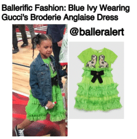 All Star, Fashion, and Memes: Ballerific Fashion: Blue Ivy Wearing  Gucci's Broderie Anglaise Dress  @balleralert BallerificFashion: BlueIvy Wearing Gucci's Broderie Anglaise Dress -blogged by- @peachkyss ⠀⠀⠀⠀⠀⠀⠀⠀⠀ ⠀⠀⠀⠀⠀⠀⠀⠀⠀ Little Miss Blue Ivy attended the 2017 All-Star game in New Orleans with her mom and dad on Sunday. Blue was spotted walking hand in hand with Bey while wearing Gucci's $1,790 Broderie Anglaise Dress. ⠀⠀⠀⠀⠀⠀⠀⠀⠀ ⠀⠀⠀⠀⠀⠀⠀⠀⠀ The neon green broderie anglaise dress features a silk plumetis skirt enriched with tiers of frayed silk gazaar ruffles. The dress has a black Grosgrain bow detail at the waist with a beaded center. ⠀⠀⠀⠀⠀⠀⠀⠀⠀ ⠀⠀⠀⠀⠀⠀⠀⠀⠀ Blue's look was completed with black Converse and a denim jacket. Definitely adorable! BallerBabies BallerBaby