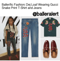 """DeJ Loaf, Gucci, and Jaden Smith: Ballerific Fashion: Dej Loaf Wearing Gucci  Snake Print T-Shirt and Jeans  @balleralert Ballerific Fashion: Dej Loaf Wearing Gucci Snake Print T-Shirt and Jeans - blogged by: @peachkyss ⠀⠀⠀⠀⠀⠀⠀⠀⠀ ⠀⠀⠀⠀⠀⠀⠀⠀⠀ DejLoaf is one of many celebs that loves Gucci's snake print pieces. The rapper posed for the 'Gram wearing Gucci's snake print t-shirt, jeans, and Princetown slippers. The look was completed with a hoodie halfway on to add a bit of street chic to her style. Dej Loaf's choice of shoes was definitely a great pick. Not only is the look casual and comfortable, but the fur slippers add the extra """"umph"""" to her look. Lately, she has been taking her style to the next level and I am here for it. Keep the chicness coming! ⠀⠀⠀⠀⠀⠀⠀⠀⠀ ⠀⠀⠀⠀⠀⠀⠀⠀⠀ The snake is a defining detail of Alessandro Michele's Fall Winter collection. Inspired by the animal world, Michele adorns the front of this cotton t-shirt with the serpent motif that has emerged as one of his signature details. Floral appliqués add a touch of romance to the design. The snake t-shirt is available at Gucci for $940. ⠀⠀⠀⠀⠀⠀⠀⠀⠀ ⠀⠀⠀⠀⠀⠀⠀⠀⠀ Inspired by nature, Alessandro Michele imbues his collections with animal and floral motifs. The snake emerges as one of his most recognizable details. The slithering design is richly embroidered and sewn to the leg of the tapered denim pant. The process takes hours to complete by hand for each piece. The fabric undergoes a treatment that involves stone washing, dyeing and distressing to achieve a soft construction and create the distinctive faded effect. The snake printed jeans are priced $1,090. ⠀⠀⠀⠀⠀⠀⠀⠀⠀ ⠀⠀⠀⠀⠀⠀⠀⠀⠀ The Princetown slipper is fully lined and trimmed with lamb fur then finished with Gucci's signature Horsebit detail. The slippers are very popular among the celebs. The fur slippers are priced at $995, if you are up for the splurge. The slippers come in different styles and embroidered detailing. If you love stepping out of the box, these s"""