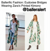 Definitely, Fashion, and Memes: Ballerific Fashion: Eudoxiee Bridges  Wearing Zara's Printed Kimono  balleralert Ballerific Fashion: Eudoxiee Bridges Wearing Zara's Printed Kimono - blogged by- @peachkyss ⠀⠀⠀⠀⠀⠀⠀⠀⠀ ⠀⠀⠀⠀⠀⠀⠀⠀⠀ EudoxieeBridges went for a casual look over the weekend. She was spotted wearing Zara's printed kimono, denim distressed jeans, and a white v-neck. ⠀⠀⠀⠀⠀⠀⠀⠀⠀ ⠀⠀⠀⠀⠀⠀⠀⠀⠀ Zara is definitely the place to shop when looking for designer inspired pieces. The pieces are great quality and very affordable. The $129 printed kimono features a lapel collar and long sleeves with front patch pockets, and contrast belt and piping. The kimono is a great spring piece you don't want to slip through your fingers. ⠀⠀⠀⠀⠀⠀⠀⠀⠀ ⠀⠀⠀⠀⠀⠀⠀⠀⠀ Are you feeling Eudoxiee's kimono? ballerificfashion