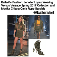 Gladiator, Jennifer Lopez, and Memes: Ballerific Fashion: Jennifer Lopez Wearing  Versus Versace Spring 2017 Collection and  Monika Chiang Carla Rope Sandals  @balleralert BallerificFashion: JenniferLopez Wearing VersusVersace Spring 2017 Collection and MonikaChiang Carla Rope Sandals -blogged by- @peachkyss ⠀⠀⠀⠀⠀⠀⠀⠀⠀ ⠀⠀⠀⠀⠀⠀⠀⠀⠀ Jennifer Lopez never has a dull moment when it comes to her style. She knows how to rock every look for any event. The songstress-actress recently posed for the 'Gram wearing VersusVersace Spring 2017 Collection and MonikaChiang Carla Rope Sandals. ⠀⠀⠀⠀⠀⠀⠀⠀⠀ ⠀⠀⠀⠀⠀⠀⠀⠀⠀ The Versus Versace ensemble gave off a street chic kind of look. The look features an olive green bomber and a zipped mini skirt with a ribbed waistline. ⠀⠀⠀⠀⠀⠀⠀⠀⠀ ⠀⠀⠀⠀⠀⠀⠀⠀⠀ The $695 Monika Chiang Carla rope lace-up gladiator is carefully crafted with soft army green suede.The metal silver end pieces give this style that high luxury finish. The sandals also feature a silver zip along the back makes for easy fastening and removing. ⠀⠀⠀⠀⠀⠀⠀⠀⠀ ⠀⠀⠀⠀⠀⠀⠀⠀⠀ Are you feeling Jennifer Lopez's look?