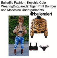 Fashion, Memes, and School: Ballerific Fashion: Keyshia Cole  WearingDsquared2 Tiger Print Bomber  and Moschino Undergarments  @balleralert  MOSCHINO  CON0 MOSCHINO Ballerific Fashion: Keyshia Cole Wearing Dsquared2 Tiger Print Bomber and Moschino Undergarments -blogged by- @peachkyss ⠀⠀⠀⠀⠀⠀⠀ ⠀⠀⠀⠀⠀⠀⠀ Keyshia Cole gave a sexy old school look for the 'Gram. The songstress was spotted wearing Dsquared2 Tiger Print Bomber, lace-up open toe booties, denim distressed jeans, and Moschino Undergarments styled by ZellSwag. Her look was completed with the bold reddish orange hair color. ⠀⠀⠀⠀⠀⠀⠀ ⠀⠀⠀⠀⠀⠀⠀ Eighties punk-glam was the predominant theme in DSQUARED2's SS17 collection, combining retro styles with rock-chic fabrics and signature quirky details. This tiger print bomber jacket perfectly embodies this vision, coupling a vibrant pattern with a classic sports-luxe silhouette. The piece showcases long sleeves, a zip down front and black ribbed accents. Whether paired with denims or worn over a dress, the tight-fitting waist and slightly cropped length make this DSQUARED2 jacket the ideal layering essential. ⠀⠀⠀⠀⠀⠀⠀ ⠀⠀⠀⠀⠀⠀⠀ Are we feeling Keyshia's look?