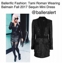 Balmain, Fall, and Fashion: Ballerific Fashion: Tami Roman Wearing  Balmain Fall 2017 Sequin Mini Dress  @balleralert Ballerific Fashion: Tami Roman Wearing Balmain Fall 2017 Sequin Mini Dress -blogged by @peachkyss ⠀⠀⠀⠀⠀⠀⠀ 'Basketball Wives' reality star and actress, TamiRoman was spotted in Miami for the 2017 BET Hip Hop Awards looking absolutely flawless from the sequins to the pink hair. ⠀⠀⠀⠀⠀⠀⠀ ⠀⠀⠀⠀⠀⠀⠀ The actress was spotted wearing a $4,225 Sequin Mini Dress from Balmain's Fall 2017 collection, paired with ChristianLouboutin platform sandals and StellaMcCartney bag styled by Roctheboy x Mishiistyle. ⠀⠀⠀⠀⠀⠀⠀ ⠀⠀⠀⠀⠀⠀⠀ OlivierRousteing implements a 'more is more' philosophy which showed no boundaries in Balmain's Fall 2017 collection. The collection has a visually rich lineup of opulent fabrics, daring cuts and his signature decadent embellishing. ⠀⠀⠀⠀⠀⠀⠀ ⠀⠀⠀⠀⠀⠀⠀ The mini dress was crafted in France from a luxurious black silk blend. The sequin-embellished mini dress adopts a chic tuxedo-style silhouette with a fitted body and a short length. A head-turning event option, it also features a v-neckline, long sleeves, a concealed rear zip fastening and two front pockets. ⠀⠀⠀⠀⠀⠀⠀ ⠀⠀⠀⠀⠀⠀⠀ Are we feeling Tami Roman's look? BallerificFashion