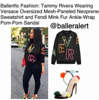 "Fashion, Love, and Memes: Ballerific Fashion: Tammy Rivera Wearing  Versace Oversized Mesh-Paneled Neoprene  Sweatshirt and Fendi Mink Fur Ankle-Wrap  Pom-Pom Sandal @balleralert Ballerific Fashion: Tammy Rivera Wearing Versace Oversized Mesh-Paneled Neoprene Sweatshirt and Fendi Mink Fur Ankle-Wrap Pom-Pom Sandal -blogged by @peachkyss ⠀⠀⠀⠀⠀⠀⠀ TammyRivera showed off her street style for the 'Gram looking absolutely stunning. The Love and Hip Hop reality star posed in a $575 Versace Oversized Mesh-Paneled Neoprene Sweatshirt and $995 Fendi Mink Fur Ankle-Wrap Pom-Pom Sandal. ⠀⠀⠀⠀⠀⠀⠀ ⠀⠀⠀⠀⠀⠀⠀ Luxurious yet playful, Versace's sweater encapsulates the brand's sense of fun. Crafted from black stretch-neoprene, this piece features neon-green, orange and pink letter cutouts with sheer mesh panels. It's cut for a relaxed, oversized fit. ⠀⠀⠀⠀⠀⠀⠀ The Fendi suede sandal features multicolor dyed mink fur pompoms, a 4.3"" covered heel, strap bands open toe, and an adjustable ankle-wrap strap. ⠀⠀⠀⠀⠀⠀⠀ Are we feeling Tammy Rivera's look?"
