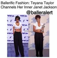 Beautiful, Fashion, and Memes: Ballerific Fashion: Teyana Taylor  Channels Her Inner Janet Jackson  @balleralert  th  video  musi  award  Ic  STAGRAM  GHIPHOPUR  th  video  video Ballerific Fashion: Teyana Taylor Channels Her Inner Janet Jackson -blogged by @peachkyss ⠀⠀⠀⠀⠀⠀⠀ ⠀⠀⠀⠀⠀⠀⠀ Some of your favorite celebs hit the red carpet for the 2017 MTV Video Music Awards wearing some of the hottest pieces from your favorite designers. ⠀⠀⠀⠀⠀⠀⠀ ⠀⠀⠀⠀⠀⠀⠀ Teyana Taylor's look stood out the most among many. The songstress hit the carpet in a white cropped v-neck tee styled with black wide leg trousers. ⠀⠀⠀⠀⠀⠀⠀ ⠀⠀⠀⠀⠀⠀⠀ Taylor's look was inspired by one of the greatest, of course the beautiful Janet Jackson. ⠀⠀⠀⠀⠀⠀⠀ Janet wore the look during MTV's 1995 Video Music Awards. The look is super casual with a twist of sexiness, especially when your abs are popping! ⠀⠀⠀⠀⠀⠀⠀ Were you feeling Teyana's look on tonight's MTV Video Music Awards? BallerificFashion
