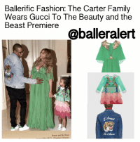 "Gucci, Memes, and The Dress: Ballerific Fashion: The Carter Family  Wears Gucci To The Beauty and the  Beast Premiere  @balleralert  Beauty and the Beast  ta. Film 0017n remiere Version) BallerificFashion: The Carter Family Wears Gucci To The Beauty and the Beast Premiere - blogged by: @peachkyss (Swipe For More) ⠀⠀⠀⠀⠀⠀⠀⠀⠀ ⠀⠀⠀⠀⠀⠀⠀⠀⠀ The Carter Family shared quite a few flicks on Beyoncé's website before heading to The Beauty and the Beast Premiere. For the premiere, The Carters wore Gucci, which is definitely the family's favorite go-to brand. Beyoncé showed off her baby bump while wearing Gucci's $28k embellished plissé silk-chiffon gown and Azzedine Alaia studded sandals. BlueIvy held her mommy's hand while wearing Gucci's Bird Silk Dress and Converse sneakers. JayZ went casual for the evening in Gucci's embroidered denim jacket and adidas sneakers. ⠀⠀⠀⠀⠀⠀⠀⠀⠀ ⠀⠀⠀⠀⠀⠀⠀⠀⠀ Bey's light-emerald gown is expertly crafted from fluid plissé silk-chiffon. The gown is decorated with beautiful floral appliqués, intricate beading and light-catching crystals along the daring neckline. Love the glamorous floaty silhouette and cape-effect sleeves. ⠀⠀⠀⠀⠀⠀⠀⠀⠀ ⠀⠀⠀⠀⠀⠀⠀⠀⠀ To complete Bey's look, she wore Azzedine Alaia Sandals. The sandals are crafted with a vertiginous heel. The elegant sandals have been expertly made in Italy from rose gold leather. They're detailed with gunmetal pyramid studs and signature buttoned straps – each sphere is covered and placed by hand. ⠀⠀⠀⠀⠀⠀⠀⠀⠀ ⠀⠀⠀⠀⠀⠀⠀⠀⠀ Blue's Gucci Green silk chiffon dress features a green and pink tiered skirt. The dress also has embroidered birds appliqués with center embroidered heart appliqué. The neckline and sleeves feature white macramé details and mother of pearl interlocking G buttons. The dress is completed with green grosgrain belt with bow at the back. ⠀⠀⠀⠀⠀⠀⠀⠀⠀ ⠀⠀⠀⠀⠀⠀⠀⠀⠀ Hov's denim jacket is embellished with some of Gucci's newest distinctive motifs, most notably the tiger. The individually embroidered appliqués are sewn to the garment by hand, a process that takes hours to complete for each jacket. The center-back design is framed by the phrase ""L'Aveugle Par Amour."" Literally translating to ""blind for love,"" it encompasses the idea that love makes you blind-a concept that speaks to Alessandro Michele's romantic vision and inspirations."