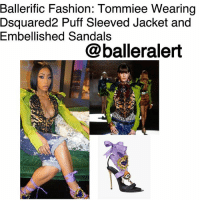 Cute, Fashion, and Love: Ballerific Fashion: Tommiee Wearing  Dsquared2 Puff Sleeved Jacket and  Embellished Sandals  @balleralert Ballerific Fashion: Tommiee Wearing Dsquared2 Puff Sleeved Jacket and Embellished Sandals -blogged by- @peachkyss ⠀⠀⠀⠀⠀⠀⠀⠀⠀ ⠀⠀⠀⠀⠀⠀⠀⠀⠀ Monday night, Tommiee was spotted on the Love & Hip Hop Atlanta Reunion in a super cute look. The reality star wore Dsquared2's puff sleeved jacket styled with the popular embellished sandals by the brand. ⠀⠀⠀⠀⠀⠀⠀⠀⠀ ⠀⠀⠀⠀⠀⠀⠀⠀⠀ The Dsquared2 Embroidered Bustier Jacket features a mock neckline with exposed zipper front, long leg of mutton sleeves, and embroidered crop bodice. ⠀⠀⠀⠀⠀⠀⠀⠀⠀ ⠀⠀⠀⠀⠀⠀⠀⠀⠀ The show-stopping 'Treasure' sandals feature a high gold-tone heel, an open toe, a black suede t-bar front strap with a green and purple grosgrain ankle strap. The straps are long enough to be tied all the way up the calf for added effect. The DSQUARED2 shoes are finished off with a gold-tone plaque embedded with crystals, a heart motif and a distinctive evil-eye punctuated at the center. ⠀⠀⠀⠀⠀⠀⠀⠀⠀ ⠀⠀⠀⠀⠀⠀⠀⠀⠀ Are we feeling Tommiee's reunion look? BallerificFashion