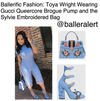 """Ballerific Fashion: Toya Wright Wearing Gucci Queercore Brogue Pump and the Sylvie Embroidered Bag -blogged by- @peachkyss ⠀⠀⠀⠀⠀⠀⠀⠀⠀ ⠀⠀⠀⠀⠀⠀⠀⠀⠀ ToyaWright definitely took advantage of the beautiful day in Atlanta by rocking beautiful shades of blue. She was spotted wearing Gucci's $3,500 Queercore Brogue Pump and the $1,790 Sylvie Embroidered Bag. Looks like someone is bringing in spring a few weeks early. ⠀⠀⠀⠀⠀⠀⠀⠀⠀ ⠀⠀⠀⠀⠀⠀⠀⠀⠀ The Sylvie bag has a top handle shape with nylon Web embedded under the smooth leather and decorated with a gold chain and buckle. The bag is further enhanced with embroidered flower appliqués. ⠀⠀⠀⠀⠀⠀⠀⠀⠀ ⠀⠀⠀⠀⠀⠀⠀⠀⠀ The pumps are truly a statement piece and will look absolutely amazing with the """"Wright"""" look. The Queercore Brogue pumps feature three straps with a textured tiger head front buckle. The buckle is a unique detail referencing the Greek god Dionysus. The heel is composed of embedded tonal crystals and an in relief snake-an important symbol throughout Gucci's collections. ⠀⠀⠀⠀⠀⠀⠀⠀⠀ ⠀⠀⠀⠀⠀⠀⠀⠀⠀ Love the look! Have you copped any of Gucci's latest pieces? ballerificfashion: Ballerific Fashion: Toya Wright Wearing  Gucci Queercore Brogue Pump and the  Sylvie Embroidered Bag  baller alert Ballerific Fashion: Toya Wright Wearing Gucci Queercore Brogue Pump and the Sylvie Embroidered Bag -blogged by- @peachkyss ⠀⠀⠀⠀⠀⠀⠀⠀⠀ ⠀⠀⠀⠀⠀⠀⠀⠀⠀ ToyaWright definitely took advantage of the beautiful day in Atlanta by rocking beautiful shades of blue. She was spotted wearing Gucci's $3,500 Queercore Brogue Pump and the $1,790 Sylvie Embroidered Bag. Looks like someone is bringing in spring a few weeks early. ⠀⠀⠀⠀⠀⠀⠀⠀⠀ ⠀⠀⠀⠀⠀⠀⠀⠀⠀ The Sylvie bag has a top handle shape with nylon Web embedded under the smooth leather and decorated with a gold chain and buckle. The bag is further enhanced with embroidered flower appliqués. ⠀⠀⠀⠀⠀⠀⠀⠀⠀ ⠀⠀⠀⠀⠀⠀⠀⠀⠀ The pumps are truly a statement piece and will look absolutely amazing with the """"Wright"""" look. The Queercore Brogue pumps feat"""