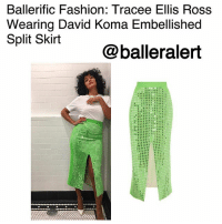 Fashion, Love, and Memes: Ballerific Fashion: Tracee Ellis Ross  Wearing David Koma Embellished  Split Skirt  @balleralert Ballerific Fashion: Tracee Ellis Ross Wearing David Koma Embellished Split Skirt -blogged by @peachkyss ⠀⠀⠀⠀⠀⠀⠀ ⠀⠀⠀⠀⠀⠀⠀ Tracee Ellis Ross never disappoints when it comes to her sense of style. The way she puts a spin on her looks is simply breathtaking, which is why she is every fashion lovers favorite. ⠀⠀⠀⠀⠀⠀⠀ ⠀⠀⠀⠀⠀⠀⠀ The Blackish actress stopped by Jimmy Kimmel Live wearing a white t-shirt, a $2,986 David Koma's Embellished Split Skirt paired with Christian Louboutin pumps. ⠀⠀⠀⠀⠀⠀⠀ ⠀⠀⠀⠀⠀⠀⠀ The David Koma Skirt is rendered in wool with mirror embellishments, a front slit design, and a high-waistline construction. ⠀⠀⠀⠀⠀⠀⠀ ⠀⠀⠀⠀⠀⠀⠀ Honestly, how can you not love Tracee? BallerificFashion