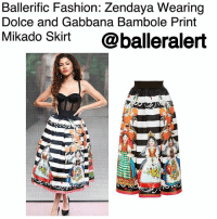 Disney, Fashion, and Love: Ballerific Fashion: Zendaya. Wearing  Dolce and Gabbana Bambole Print  Mikado Skirt  @balleralert Ballerific Fashion: Zendaya Wearing Dolce and Gabbana Bambole Print Mikado Skirt -blogged by-@peachkyss ⠀⠀⠀⠀⠀⠀⠀⠀⠀ ⠀⠀⠀⠀⠀⠀⠀⠀⠀ We fell in love with Zendaya years ago, and since then she has blossomed even more. With her stylist LuxuryLaw putting in work, how can we not love everything the Disney star slays. ⠀⠀⠀⠀⠀⠀⠀⠀⠀ ⠀⠀⠀⠀⠀⠀⠀⠀⠀ Miss Zendaya was spotted in LA at the DolceandGabbana party wearing the designer's $2,195 Bambole Print Mikado Skirt. The skirt was styled with a sheer corset fitting top and black pumps. Love the details of the skirt. ⠀⠀⠀⠀⠀⠀⠀⠀⠀ ⠀⠀⠀⠀⠀⠀⠀⠀⠀ Rendered in silk, this Dolce & Gabbana skirt features a voluminous silhouette rendered in a black and white stripe with a traditional bambole doll print and a signature scalloped stretch waistband. ⠀⠀⠀⠀⠀⠀⠀⠀⠀ ⠀⠀⠀⠀⠀⠀⠀⠀⠀ Are we loving Zendaya's look? BallerificFashion