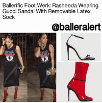 "Ballerific Foot Werk: Rasheeda Wearing  Gucci Sandal With Removable Latex  Sock  @baller alert Ballerific Foot Werk: Rasheeda Wearing Gucci Sandal With Removable Latex Sock - blogged by: @peachkyss ⠀⠀⠀⠀⠀⠀⠀⠀⠀ ⠀⠀⠀⠀⠀⠀⠀⠀⠀ Ballerific Foot Werk is more than just rocking designer brands. It's all about showcasing some of the most unique, hot, and chic foot werk for the stylish and super fashionable. When it comes to style, it is all about being able to stand out from the rest, while adding a hint of ""umph' to your look. Take a simple look and add statement shoes. Leave your mark wherever you decide to show off your style. ⠀⠀⠀⠀⠀⠀⠀⠀⠀ ⠀⠀⠀⠀⠀⠀⠀⠀⠀ Let's get into today's foot werk from Gucci. ⠀⠀⠀⠀⠀⠀⠀⠀⠀ ⠀⠀⠀⠀⠀⠀⠀⠀⠀ Gucci is giving many designers a run for their money with their last few collections. From the spiked sandals to the embroidered snake on tees and jeans, Gucci is becoming a crowd favorite. The brand has truly evolved with their trendy pieces. The latest piece to add to your wardrobe is the Gucci Sandal With Removable Latex Sock. Rasheed from Love and Hip Hop Atlanta posed for the 'Gram wearing the sandals with a sheer asymmetric skirt and printed tee. The sandals made me love her look even more. ⠀⠀⠀⠀⠀⠀⠀⠀⠀ ⠀⠀⠀⠀⠀⠀⠀⠀⠀ A collection of multifunctional shoes was introduced for Spring Summer 2017. A playful approach to an ankle boot gives into the context of the collection in contrast colors. This style can be worn as an ankle boot or the latex sock can be removed and the sandal can be worn alone. ⠀⠀⠀⠀⠀⠀⠀⠀⠀ ⠀⠀⠀⠀⠀⠀⠀⠀⠀ The sandals are very unique. Style the sandal with a skirt, a flirty dress, or remove the latex to wear with denim. The sock with sandals have been slowly making its way to the fashion scene. Now, you can buy the latex version to spice your look up a bit. ⠀⠀⠀⠀⠀⠀⠀⠀⠀ ⠀⠀⠀⠀⠀⠀⠀⠀⠀ If you are up for the splurge, you can purchase them for $1,190. Are we feeling the Gucci Sandal? ballerificfashion"