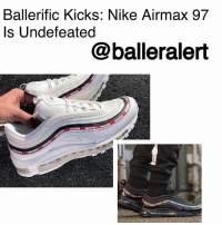 Memes, News, and Nike: Ballerific Kicks: Nike Airmax 97  Is Undefeated  @balleralert Ballerific Kicks: Nike Airmax 97 Is Undefeated- blogged by @niksofly The 20th anniversary of the Nike Airmax97 keeps getting sweeter. This Saturday, September 16th, California -based sneaker shop, Undefeated, will release their collaborative edition of the 97. The news came via Twitter post from Undefeated. The collaboration features a tonal white colorway as well as a monochrome black pair. Each colorway will sport an infamous red and green stripe along the mid-perimeter of the shoe. The shoes will be available via brick and mortar or Undefeated's website. Nike's SNKRS app will release the black pair globally on September 21st. These hot kicks retail for a cool buck-80 ($180). You copping or nah? BallerificKicks BallerAlert Sneakerhead