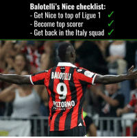 Mario is getting back on track 💯👌: Balotelli's Nice checklist:  Get Nice to top of Ligue 1  Become top scorer  Get back in the ltaly squad  BALOILI  VIZORNO  NE Mario is getting back on track 💯👌