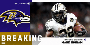 BREAKING: @Ravens signing RB @MarkIngram22 to a three-year, $15 million deal. (via @RapSheet) https://t.co/aJy59GQVQw: BALTIMORE  BREAKIN  RAVENS SIGNING  MARK INGRAM BREAKING: @Ravens signing RB @MarkIngram22 to a three-year, $15 million deal. (via @RapSheet) https://t.co/aJy59GQVQw