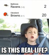 RGIII who?: Baltimore  Ravens (1-0)  Cleveland  20  Browns  (0-1)  NFL MEMES  IS THIS REAL LIFE  Quickmeme co RGIII who?