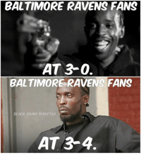 Baltimore Ravens, Baltimore, and Black: BALTIMORE RAVENS FANS  AT 3-0.  BALTIMORE RAVENS FANS  BLACK ADAM SCHEFTER  AT 3-4. Flacco still not elite.