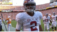 Sports, Down, and They: BAMA  ATs  g  V13 Jalen Hurts with the 'they can't guard me' stare down 👀