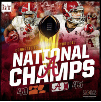 The Alabama Crimson Tide are your 2016 National Champions!: BAMA  BAMA  THE 2016  CONGRATS TO  CH MPS  2016  NATIONAL CHAMPIONSHIP  ARIZONA The Alabama Crimson Tide are your 2016 National Champions!