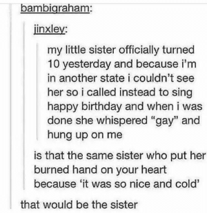 """Sister is rudeomg-humor.tumblr.com: bambigraham:  jinxley:  my little sister officially turned  10 yesterday and because i'm  in another state i couldn't see  her so i called instead to sing  happy birthday and when i was  done she whispered """"gay"""" and  hung up on me  is that the same sister who put her  burned hand on your heart  because 'it was so nice and cold'  that would be the sister Sister is rudeomg-humor.tumblr.com"""
