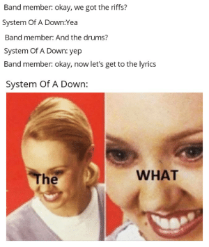 Banana terracotta terracotta pie: Band member: okay, we got the riffs?  System Of A Down:Yea  Band member: And the drums?  System Of A Down: yep  Band member: okay, now let's get to the lyrics  System Of A Down:  WHAT  The Banana terracotta terracotta pie