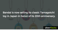 The Tamagotchi is back!! (But, only in Japan for now): Bandai is now selling its classic Tamagotchi  toy in Japan in honor of its 20th anniversary.  uber  facts The Tamagotchi is back!! (But, only in Japan for now)