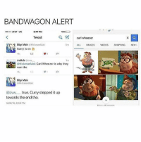 News, True, and Carl Wheezer: BANDWAGON ALERT  0 AT&T LTE  8:47 PM  10%  Tweet  a  carl wheeze  Bby Mak @HickmanMak  Curry is on  5m  ALL IMAGES VIDEOSSHOPPING NEWS  t구  1m  oHickmanMak Carl Wheezer is why they  won tho  邙  Bby Mak  HickmanMak  @zvw true, Curry stepped it up  towards the end tho  5/28/16, 8:46 PM I'm dead