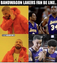 People thinking this is the new Kobe and Shaq 💀😂 - Follow @_nbamemes._: BANDWAGON LAKERS FAN BE LIKE..  34  OLITNBAMEMES  ANGELES People thinking this is the new Kobe and Shaq 💀😂 - Follow @_nbamemes._