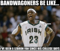 When LeBron played college ball? nbamemes irish lbj highschool: BANDWAGONERS BE LIKE  ONBAMEMES  IRISH  IVE BEENALEBRON FAN SINCE HISCOLLEGE DAYS When LeBron played college ball? nbamemes irish lbj highschool