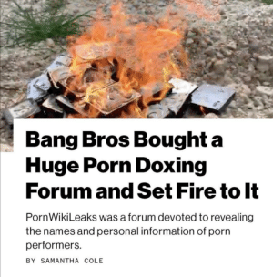 awesomacious:  Not all heroes wear capes.: Bang Bros Bought a  Huge Porn Doxing  Forum and Set Fire to It  PornWikiLeaks was a forum devoted to revealing  the names and personal information of porn  performers  BY SAMANTHA COLE awesomacious:  Not all heroes wear capes.