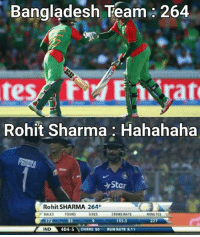 Ye to Hitman akela kar leta 😂😂: Bangladesh Team 264  Rohit Sharma Hahahaha  ar  Rohit SHARMA 264  FOURS  SIXES  BALLS  STRIKE RATE  MINUTES  153.5  227  33  ND  404-5  OVERS 50  RUN RATE B.11 Ye to Hitman akela kar leta 😂😂
