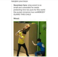 """Ass, Omg, and Guitar: bangtan-your-boys  Seventeen fans: omg woozi is so  small and vulnerable he needs  protecting he's too pure for this world  the purest cinnamon bun soMEBODY  GUARD THIS CHILD  Woozi: """"I may look like a 5 year old but I can still whoop your ass with this guitar"""" - Woozi probably"""