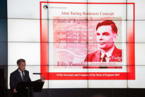 England, Bank, and World: BANK OF ENGLAND  Alan Turing Banknote Concept  Bank of England  Eilty Pads  hs a yoase of wh  on  OThe Governor and Company of the Bank of England 2019 Mark Carney, the governor of the Bank of England, introducing Britain's coming 50-pound note, featuring Alan Turing, the computing pioneer and World War II code-breaker who suffered under Victorian laws against homosexuality.