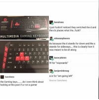 """Fuck, Sideways, and Gaming: banshees  ijust fuckinf noticed they switched the d and  the s's places what the.. .fuck?  MULTIMEDIA GAMING KEYBOAR  whowasphoone  its because the d stands for down and the s  stands for sideways.... this is clearly how it  was meant to be all along  E  R  Y  U  bace-jeleren  W for """"wupwards""""  benjaminbreeg  banshees  a is for """"am going left  Source: banshees  the Gaming keys. do t even think about  looking at this post if ur not a gamer why"""