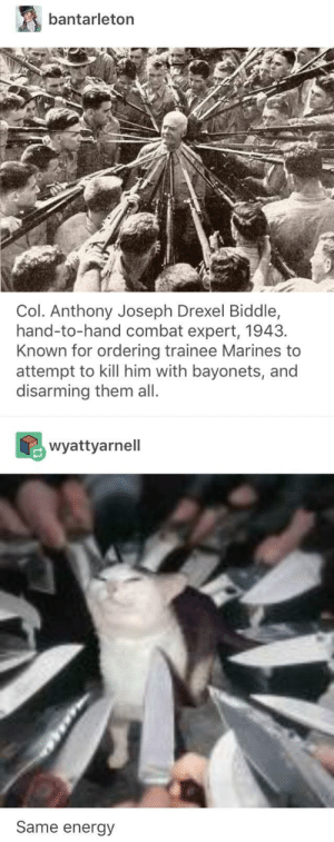 Energy, Marines, and Him: bantarleton  Col. Anthony Joseph Drexel Biddle,  hand-to-hand combat expert, 1943.  Known for ordering trainee Marines to  attempt to kill him with bayonets, and  disarming them all.  wyattyarnell  Same energy You fools. Do you know what you're up against?